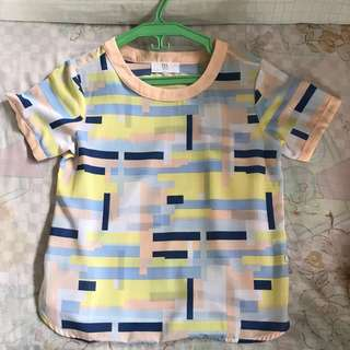 Bayo geometric shapes short sleeves top