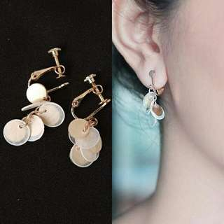 Anting jepit korea round fringed multi layer shell ear clip