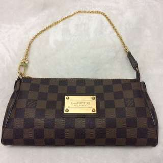 Authentic Louis Vuitton Eva Clutch Damier Ebene