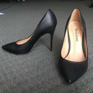 Black Leather Stiletto Heels by Marco Gianni