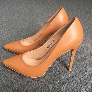 Tan Leather Stilettos by Marco Gianni