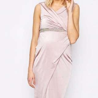 Maternity wrap dress w embellished waist