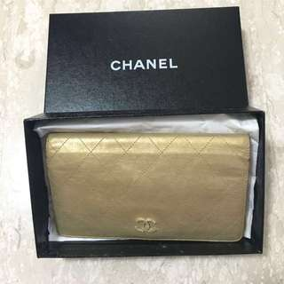 Chanel Gold Metallic Quilted Leather L Yen Wallet