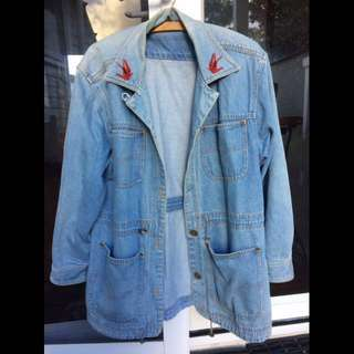 Vintage Denim Jacket With Lapel Patches