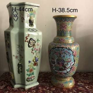 Lot Of Two Porcelain/cloisonné bronze vases