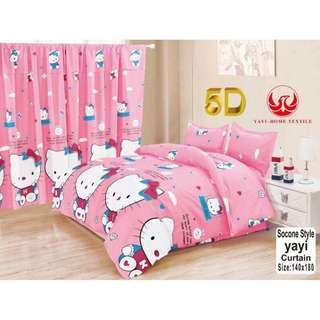 KOREAN COTTON 5in1 BEDSHEET SET with CURTAIN ....