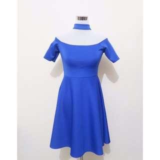Royal blue choker dress