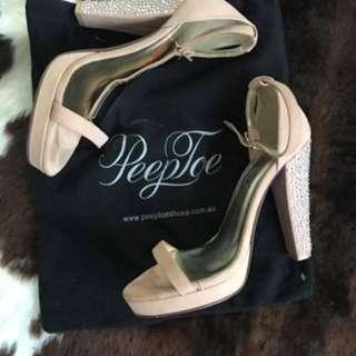Peep toe nude/ crystal heels