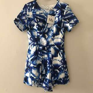 Floral blue short sleeve playsuit