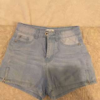 Blue denim shorts with zip detail