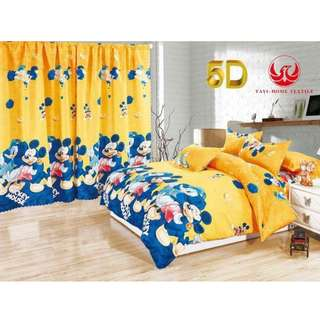 KOREAN COTTON 5in1 BEDSHEET SET with CURTAIN.....
