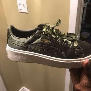 Puma Satin Olive Platform shoes 7.5