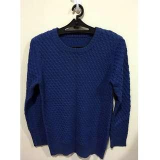 韓製 針織素面圓領毛衣 寶藍色