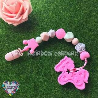 Handmade Pacifier Clip + Pink Pony Teether Combo