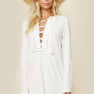 Faithfull the Brand Lace Up Long Sleeve Dress