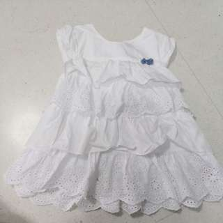 Preloved mothercare white dress for 3-6months