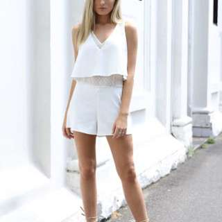 Madison Square White Serena Playsuit Size Small BNWT