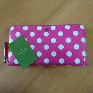 Kate spade 粉紅色波點長銀包