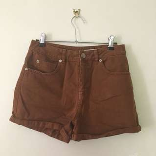 ASOS HIGH WAISTED BROWN DENIM SHORTS SIZE 10
