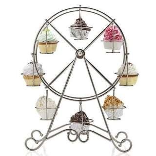 8 Cup Metal Rotating Ferris Wheel Cupcake Stand (SIlver)