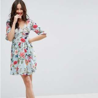 ASOS Plus Size Mini Tea Dress with Frill Sleeve in Floral Print