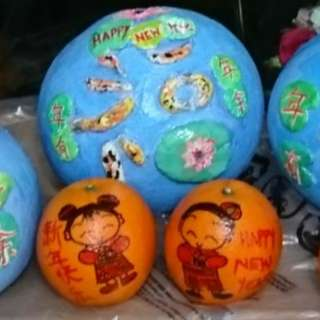 CNY - hand painted / hand crafted decorative oranges and pomelos