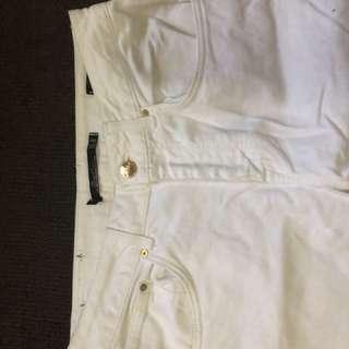 Zara embroidered white jeans