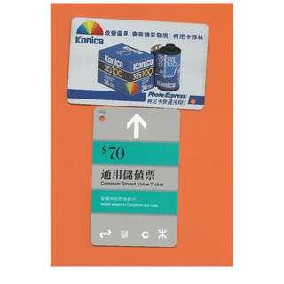 70-KONICA-PHOTO EXPRESS-香港地鐵通用儲值票,背有廣告,無面值