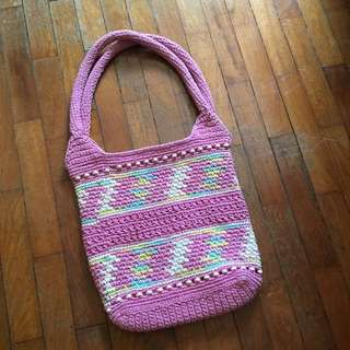Pastel Pink Knit Style Tote Bag