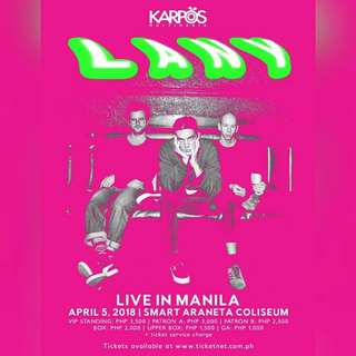 (2) LANY Upperbox Tickets