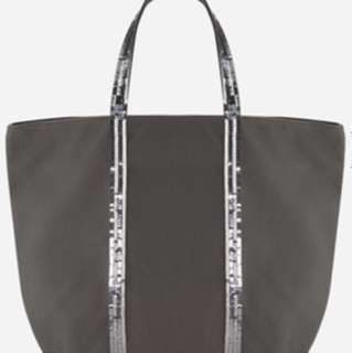VANESSA BRUNO MEDIUM + CANVAS AND SEQUINS CABAS TOTE BAG WITH ZIP
