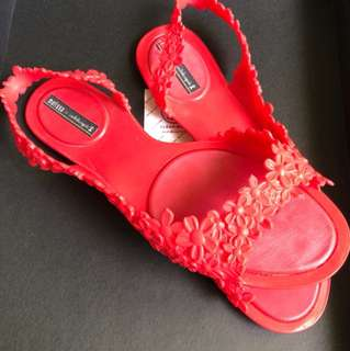 Authentic Red Melissa Floral Sandals