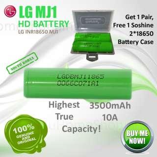 18650 Battery : Genuine LG MJ1 3500mAh, 10A Flat Top High Drain