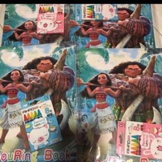 Instock moana A4 Coloring And Stickers set brand new
