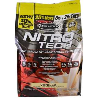 Muscletech, Performance Series, Nitro-Tech, Whey Isolate + Lean Musclebuilder, Vanilla, 10 lbs (4.54 kg)