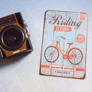 Bike metal tin signage