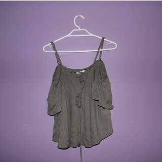Women's Stylish Khaki Green Off Shoulder Top ~ Size 8