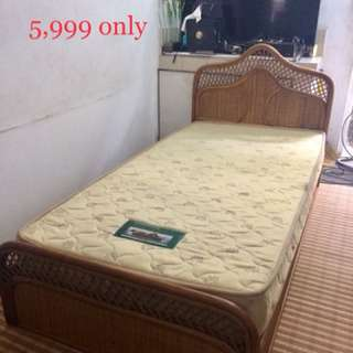 Rattan single bed with mattress