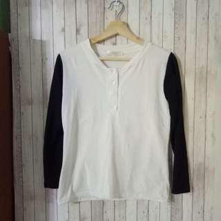 🚚 全新現貨 黑白棒球衣配色 純棉長袖t #旺旺一路發