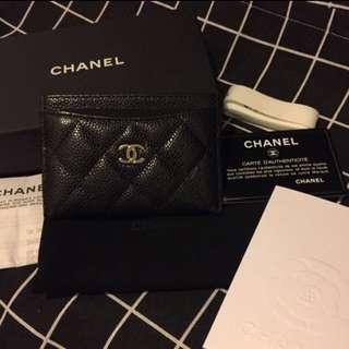 Chanel 黑色 經典款 銀色 Logo Card Holder 卡片套 Case