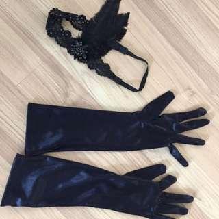 Gatsby theme lace hair piece and satin glove