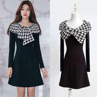 011605(S~XL)正韓 2018新款千鳥格拼接造型洋裝