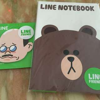 Line brown book and memo