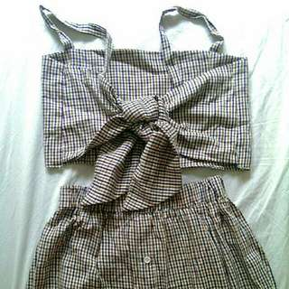 Gingham Knot top Terno