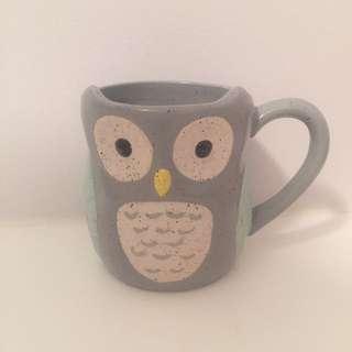 Indigo Speckled Owl Mug