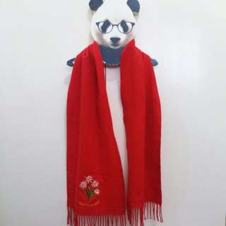 Red Fringed Swiss Scarf