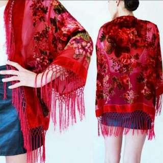 BN Fringed Velvet Kimono Jacket