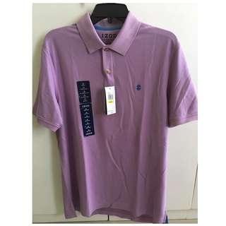 IZOD Short Sleeve Polo Shirt (sheer lilac color) Medium