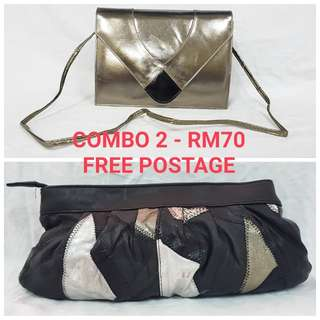 COMBO FOR 2 LEATHER CLUTCH BAG