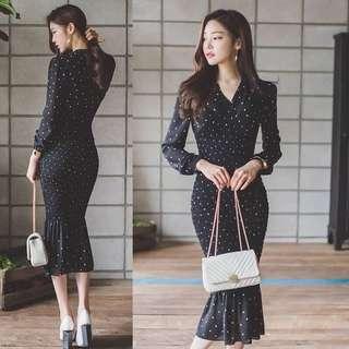 011606(S~XL)正韓 2018新款圓點性感V領洋裝